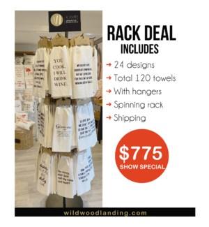 """""""RACK- TOWEL DISPLAY - HOLDS 24 DESIGNS, 5 DEEP = 120, INCL HANGERS & SHIPPING"""""""