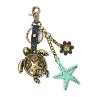 Metal Charming Keychain - Turtle & Starfish