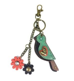 Mini Keychain - Bird - teal (w/ flower charm)