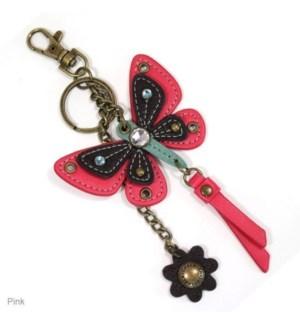Mini Keychain - Butterfly - pink (w/ flower charm)