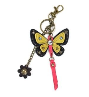 Mini Keychain - Butterfly - yellow (w/ flower charm)