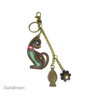 Mini Keychain - Cat - teal (w/ fish charm)
