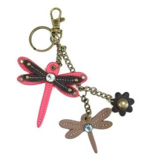 Mini Keychain - Dragonfly - pink (w/ dragonfly charm)