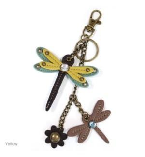 Mini Keychain - Dragonfly - yellow (w/ dragonfly charm)
