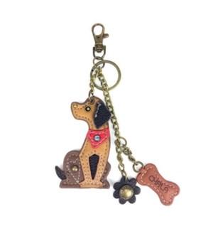 Mini Keychain - Dog - brown (w/ bone charm)