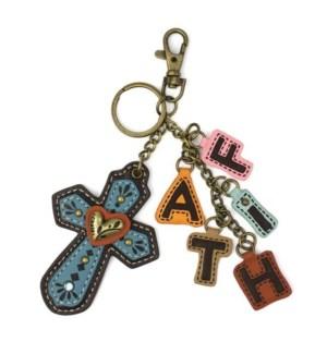 Charming Charms Keychain - Cross+FAITH - blue