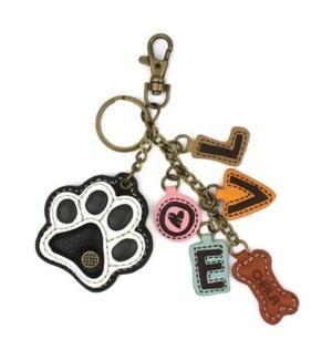 Charming Charms Keychain - Paw+LOVE - b&w