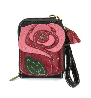 Cute-C - Credit Card Holder / Wallet Wristlet - Red Rose