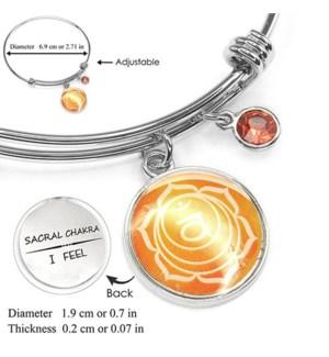 Chakra (Energy Points) Silver Bracelets-Sacral Chakra (Creativity) / UPC= 684500056110