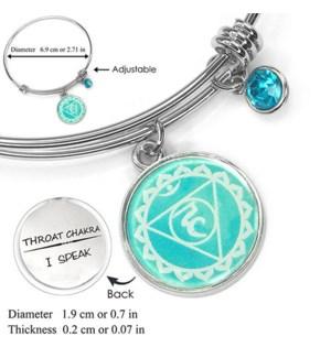Chakra (Energy Points) Silver Bracelets-Throat Chakra (Expression) / UPC= 684500056134