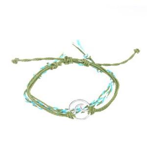Wave - 2 Rope braided Bracelet Greens / UPC= 684500076811
