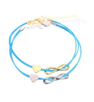 Friends Forever Infinity & Heart Bracelets-One Gold & One Silver, Blue / UPC= 684500079850