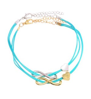 Friends Forever Infinity & Heart Bracelets-One Gold & One Silver, Green / UPC= 684500079836