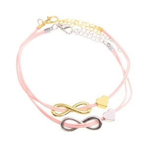 Friends Forever Infinity & Heart Bracelets-One Gold & One Silver, Pink / UPC= 684500079805