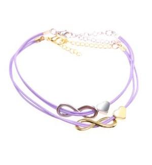 Friends Forever Infinity & Heart Bracelets-One Gold & One Silver, Purple / UPC= 684500079812