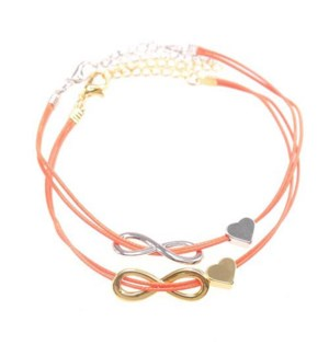 Friends Forever Infinity & Heart Bracelets-One Gold & One Silver, Red / UPC= 684500079829