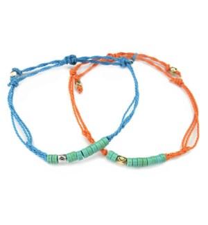 Soul Sisters Friendship String & Bead Bracelets-One Blue and One Orange / UPC= 684500079881
