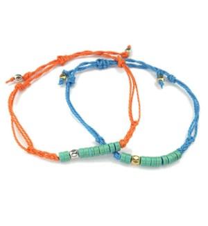 Soul Sisters Friendship String & Bead Bracelets-One Orange & One Blue / UPC= 684500079874