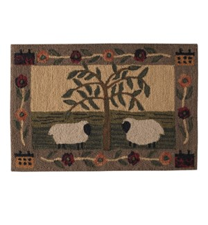WILLOW & SHEEP HOOKED RUG