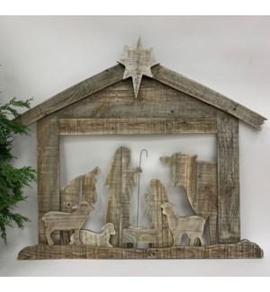 """33""""L x 28""""H x 1"""" D Layered Wood Nativity, Wall"""