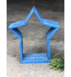 """12"""" Wood Star Creche, Blue"""