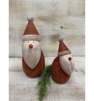 "7""  Wood Santa, Round"