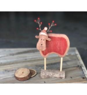 """8"""" Wood Deer with Berry Antlers"""