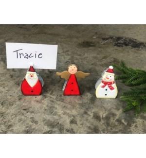 "2.75"" Metal Clips, Snowman/Angel/Santa, 3 assorted"