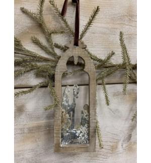 "3.5""L x 10""H x .5""D Ornament, Cutout Wood/Metal Nativity"
