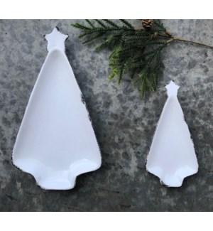 """7.5"""" Ceramic Tree Dish, White"""
