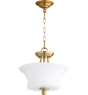 Rossington 13-in Semi-Flush Mount Aged Brass