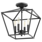 Gabriel 13-in Semi-Flush Mount Black