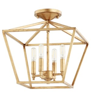 Gabriel 13-in Semi-Flush Mount Gold Leaf