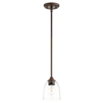 Jardin Oiled Bronze with Clear Seeded Glass Transitional Mini Pendant