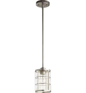 Ellis Satin Nickel Modern Farmhouse Mini Pendant
