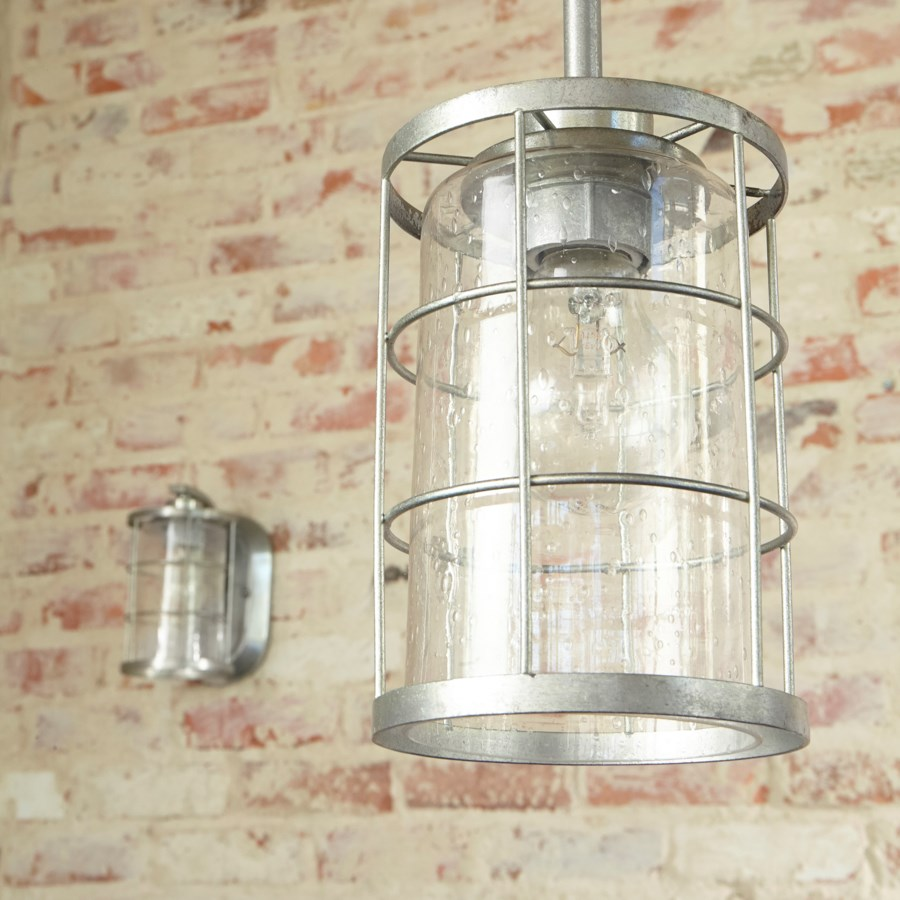 Ellis Tumbled Steel Modern Farmhouse Mini Pendant