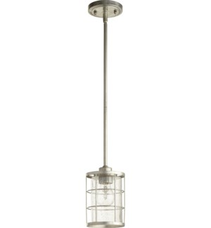 Ellis Tumbled Steel Modern Farmhouse Mini Pendant