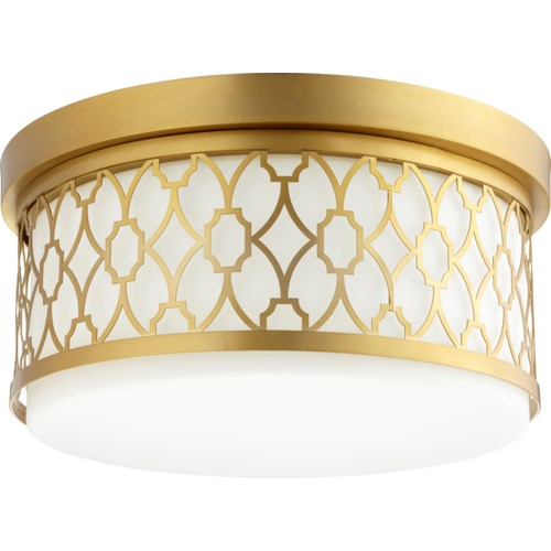 14 Inch Ceiling Mount Aged Brass