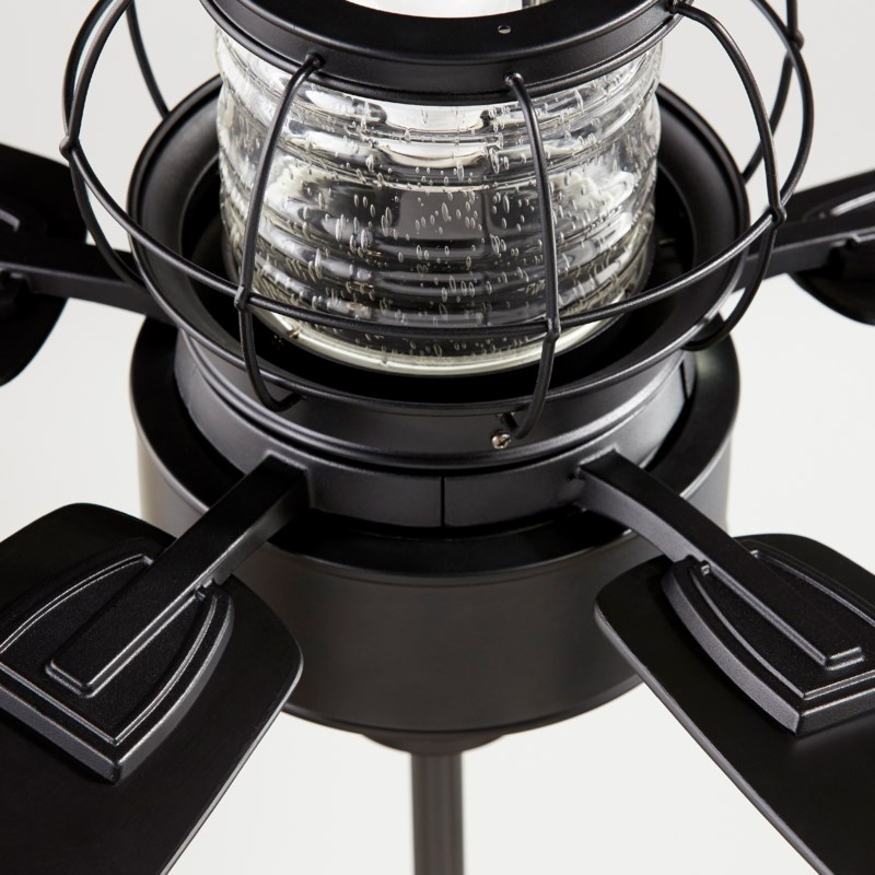 Galveston 52-in 5 Blade Black Noir Modern Farmhouse Ceiling Fan