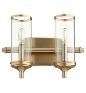 Collins 2 Light Transitional Aged Brass Vanity