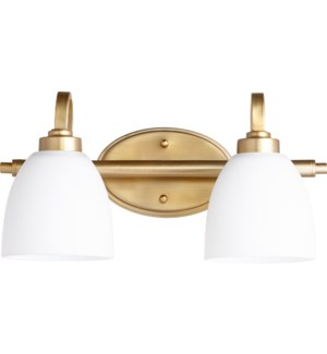 Reyes 2 Light Traditional Aged Brass  Vanity