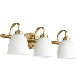 Reyes 3 Light Transitional Aged Brass Vanity