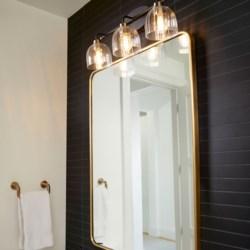 Espy 3 Light Soft Contemporary Black and Aged Brass Vanity