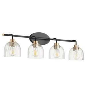 Espy 4 Light Soft Contemporary Black and Aged Brass Vanity