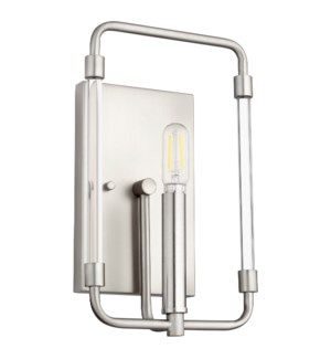 Optic 1 Light Modern and Contemporary Satin Nickel Wall Sconce