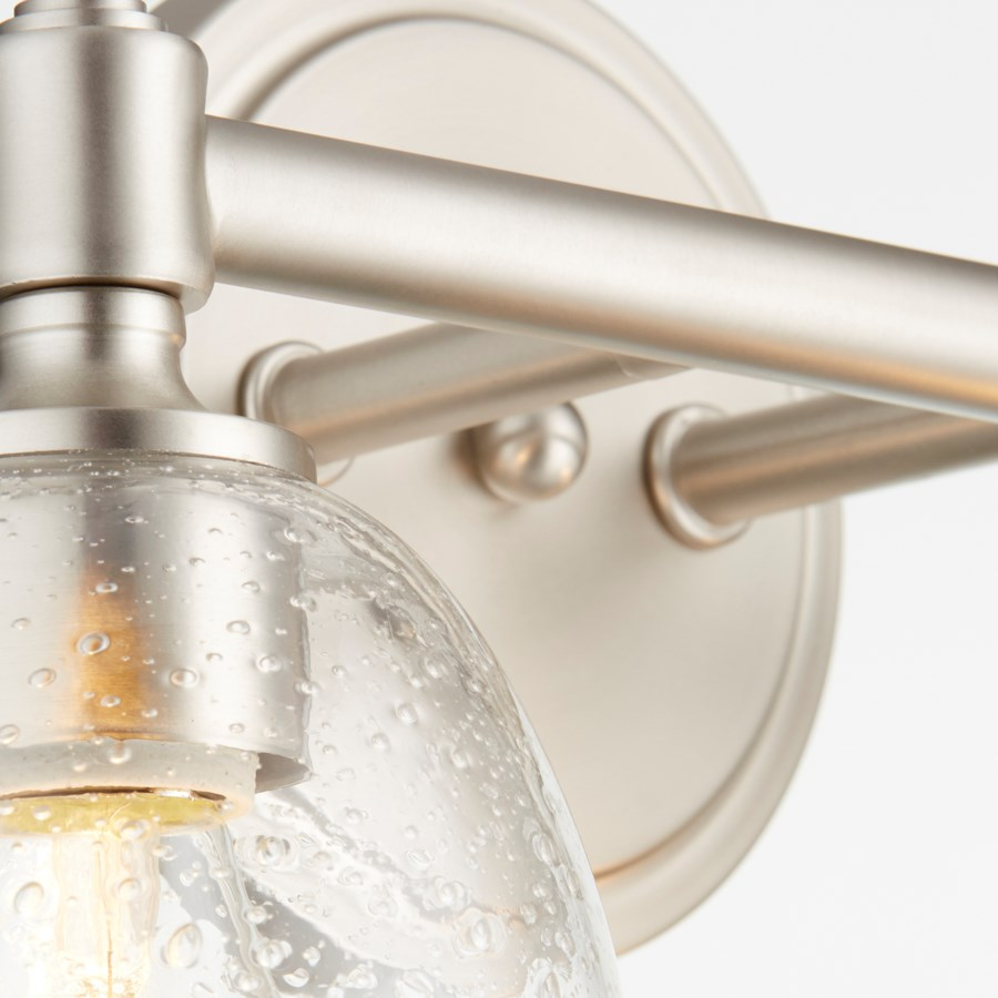 Rossington 2 Light Transitional Satin Nickel Clear Seeded Glass Vanity