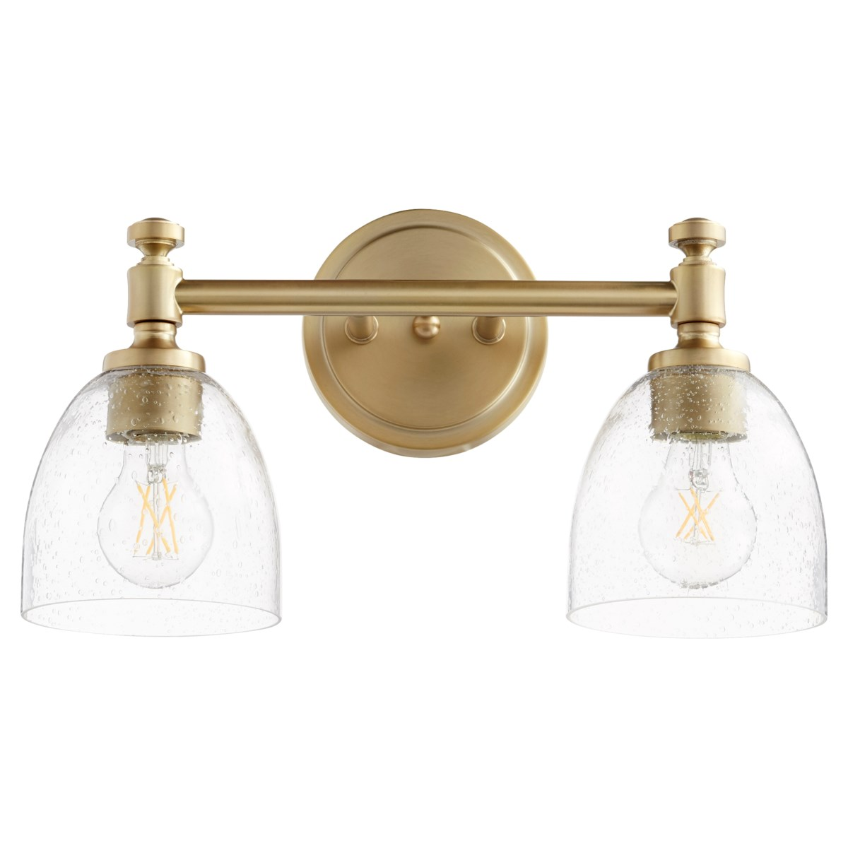 Rossington 2 Light Transitional Aged Brass Clear Seeded Glass Vanity