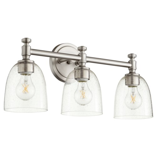 Rossington 3 Light Transitional Satin Nickel Clear Seeded Glass Vanity