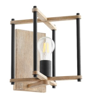 Silva 1 Light Transitional Black and Weathered Oak Finish Wall Sconce