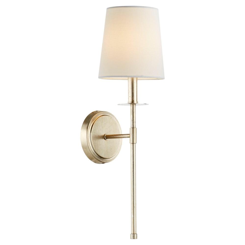 Adjustable 1-Light Linen Shade Aged Silver Leaf Sconce